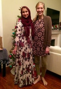 Noor (the author of this post) and Michal at a Christmas Dinner